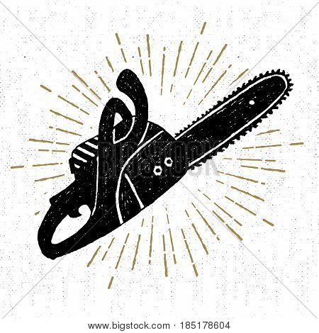 Hand drawn vintage icon with a textured chainsaw vector illustration.