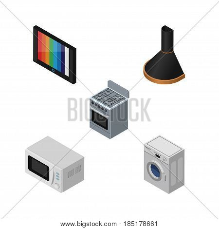 Isometric Device Set Of Air Extractor, Microwave, Laundry And Other Vector Objects. Also Includes Device, Television, Stove Elements.