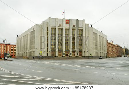 02.04.2017.Russia.Saint-Petersburg.This building is the Office of the Government of the Leningrad region.