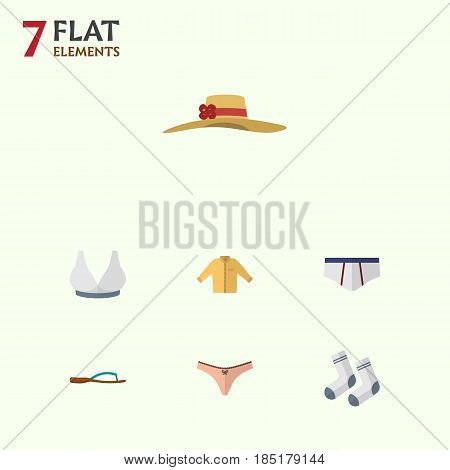 Flat Clothes Set Of Banyan, Foot Textile, Elegant Headgear And Other Vector Objects. Also Includes Bra, Sport, Underclothes Elements.