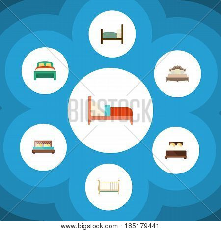 Flat Bed Set Of Bedroom, Furniture, Bearings And Other Vector Objects. Also Includes Bedding, Bearings, Bedroom Elements.