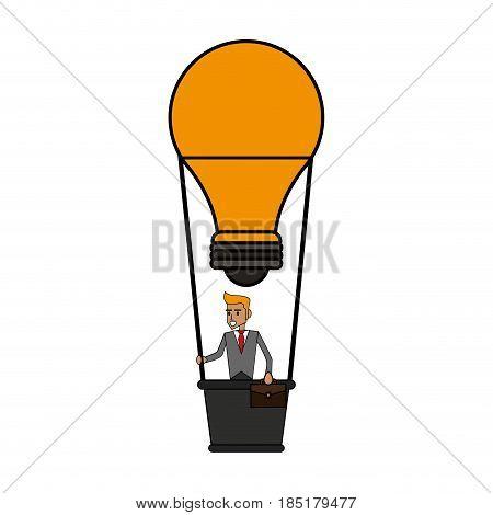 color image cartoon ligth bulb hot air balloon with executive man inside vector illustration
