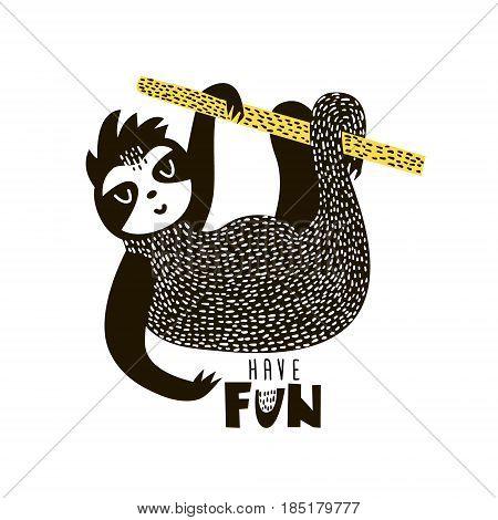 Sloth cartoon illustration in scandinavian style. Vector illustration