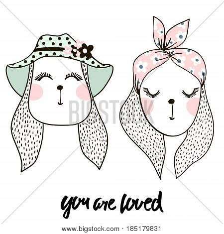 Set of two cute bunny girl. Hand drawn cartoon rabbits. Great for baby t-shirt print kids wear baby showerfashion print designpostercards. Vector illustration