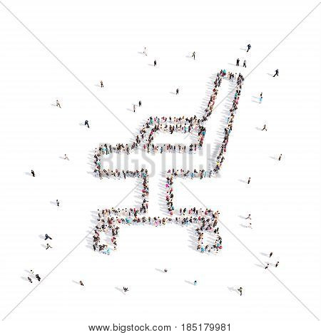 From above people walking and standing in Office chair emblem isolated on white.3D illustration. 3D-rendering.