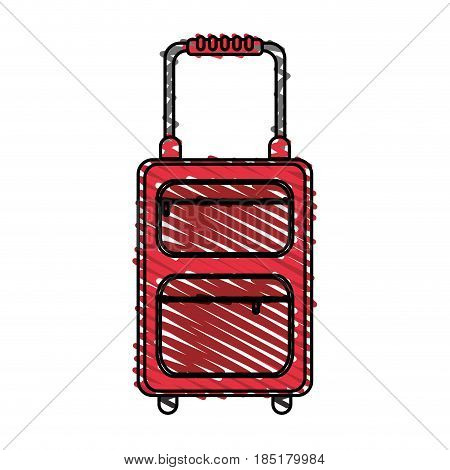 color crayon stripe travel suitcase with handle vector illustration