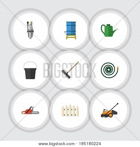 Flat Dacha Set Of Container, Hosepipe, Pump And Other Vector Objects. Also Includes Pump, Hosepipe, Hacksaw Elements.