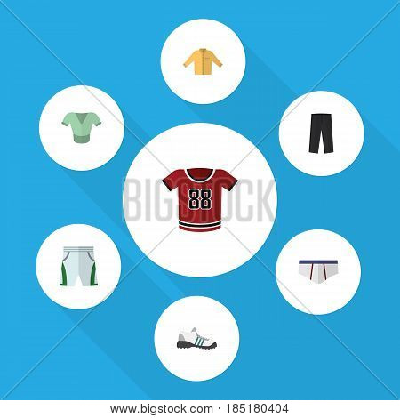 Flat Clothes Set Of Underclothes, Pants, Sneakers And Other Vector Objects. Also Includes Underwear, Pants, Cloth Elements.