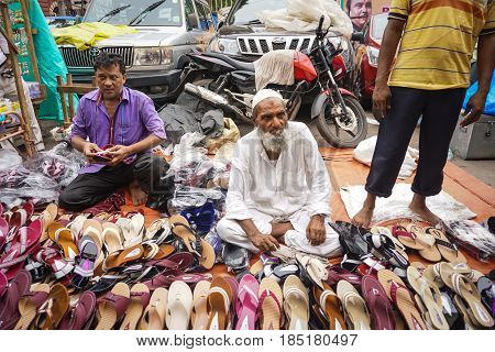 Indian Vendors At A Crowded Market