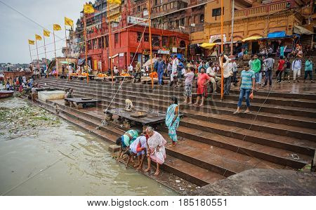The Riverbank Of Ganges In Varanasi, India