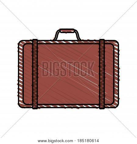 color crayon stripe travel briefcase with handle vector illustration