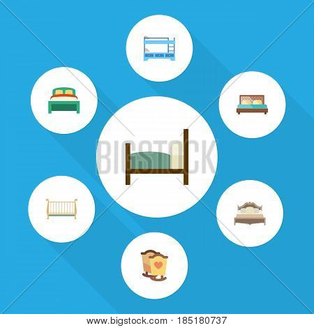 Flat Bedroom Set Of Bed, Hostel, Cot And Other Vector Objects. Also Includes Crib, Mattress, Bunk Elements.