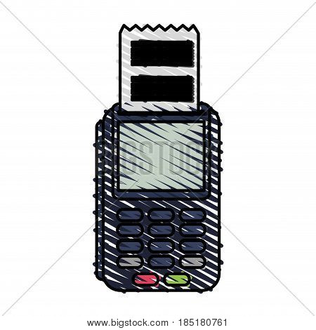 color crayon stripe dataphone with receipter paper vector illustration