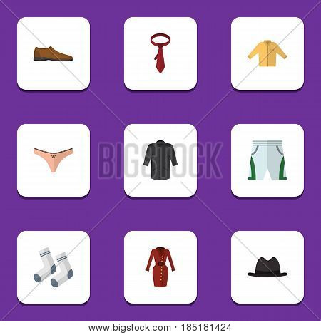 Flat Clothes Set Of Male Footware, Trunks Cloth, Uniform And Other Vector Objects. Also Includes Footware, Hat, Tie Elements.