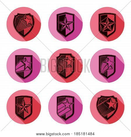 Heraldry set of military forces emblems. Detailed shields with pentagonal star sheriff vector blazon.