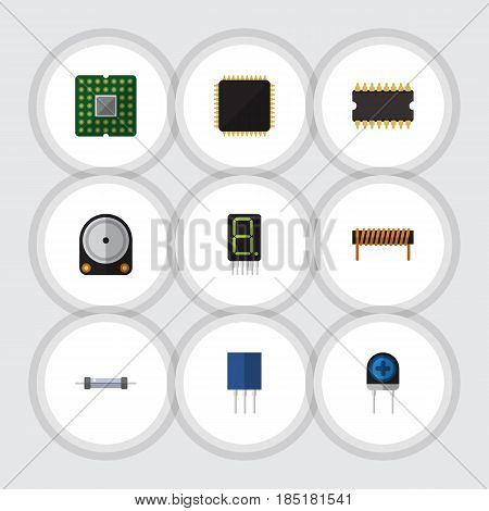 Flat Electronics Set Of Display, Bobbin, Transducer And Other Vector Objects. Also Includes Microprocessor, Resistor, Unit Elements.