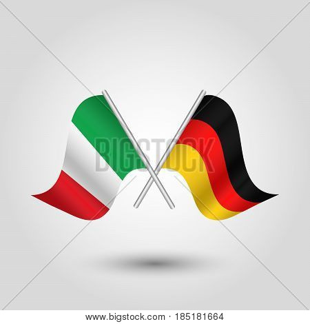 vector two crossed italian and german flags on silver sticks - symbol of italy and germany