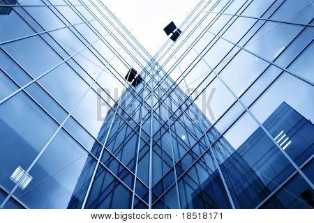 Underside view to new skyscraper business centre