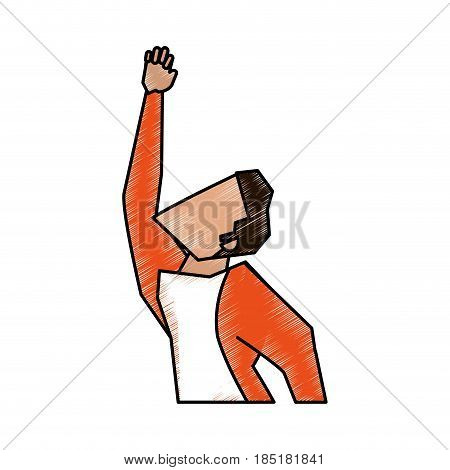 color pencil half body faceless side view super hero flying vector illustration
