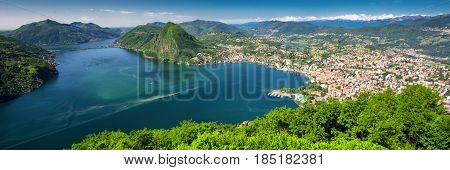 View To Lugano City, Lugano Lake And Monte San Salvatore From Monte Bre, Ticino, Switzerland