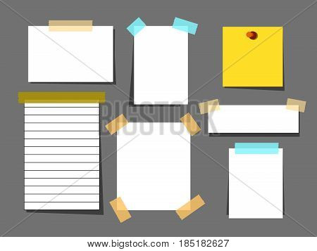Blank paper torn page notes isolated on grey background. Collection of template paper sticker. White paper sheets with scotch tape set.Sheet page for reminder message.Vector illustration
