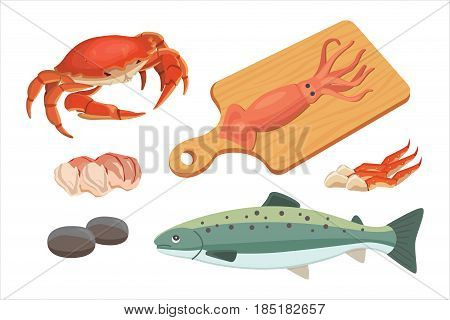 Seafood platter set design flat fresh fish and crab. Lobster and oyster, shrimp and menu, octopus animal, shellfish lemon.