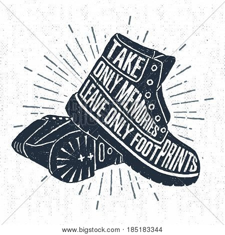 Hand drawn label with textured boots vector illustration and
