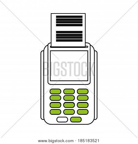 color silhouette image dataphone with receipter paper vector illustration