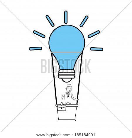 color silhouette image cartoon ligth bulb hot air balloon with executive man inside vector illustration