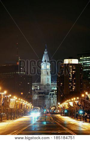 Philadelphia City Hall and street view at night