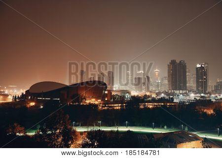 Calgary cityscape in Alberta at night, Canada.