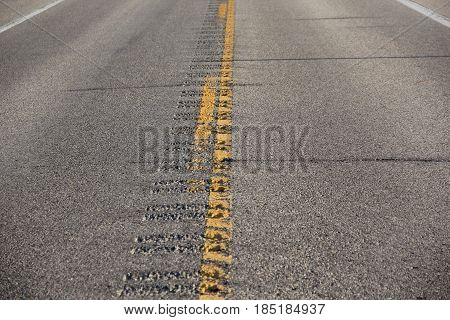 A center line on a street in Michigan