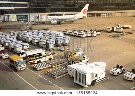 Tokyo Japan -March 6 2017; Air cargo unit load devices at Narita International Airport