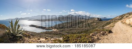 Panoramic Of West Coast And Mountains From Revellata In Corsica