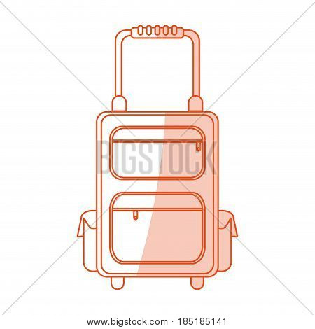red silhouette shading image cartoon travel suitcase with handle vector illustration