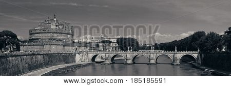 Castel Sant Angelo in Italy Rome panoramic view with bridge over River Tiber