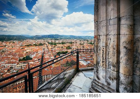 Duomo Santa Maria Del Fiore in Florence Italy viewed from top of dome.