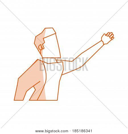 red silhouette shading image cartoon half body faceless side view super hero flying vector illustration