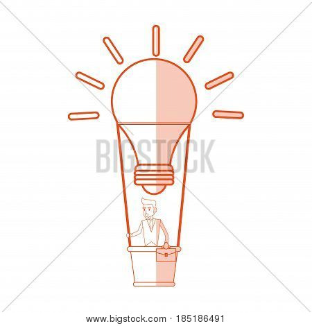 red silhouette shading image cartoon ligth bulb hot air balloon with executive man inside vector illustration