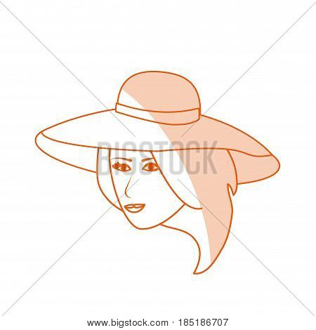 red silhouette shading image cartoon front face woman with beach hat vector illustration