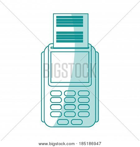blue silhouette shading image cartoon dataphone with receipter paper vector illustration