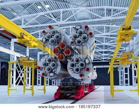 Space rocket in the hangar,3d render
