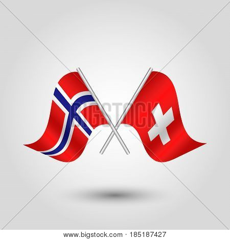 vector two crossed norwegian and swiss flags on silver sticks - symbol of norway and switzerland