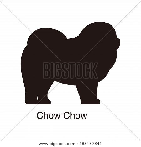 Chow Chow Dog Silhouette, Side View, Vector