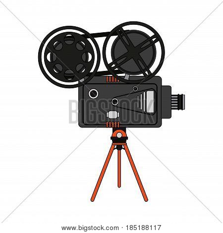 color image cartoon retro movie film projector vector illustration
