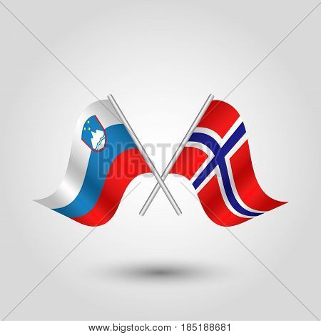 vector two crossed slovenian and norwegian flags on silver sticks - symbol of slovenia and norway