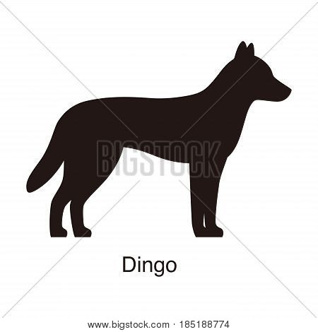 Dingo Dog Silhouette, Side View, Vector