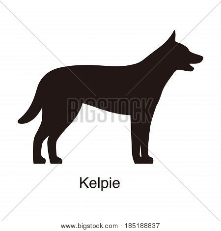 Kelpie Dog Silhouette, Side View, Vector