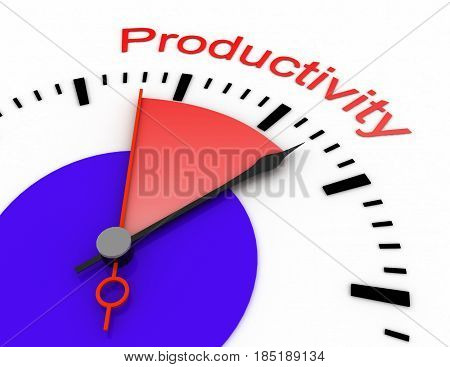 Clock With Red Seconds Hand Area Burnout 3D Productivity.rendered Illustration