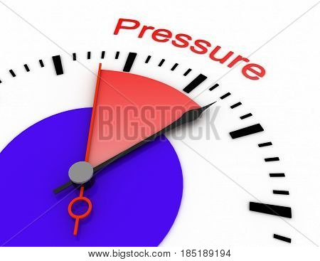 Clock With Red Seconds Hand Area Pressure 3D Deadline.rendered Illustration